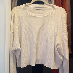 White waffle loose fitted long sleeve